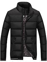 Пальто Простое Обычная На подкладке Для мужчин,Однотонный На каждый день Хлопок Полиэстер Полипропилен,Длинный рукав