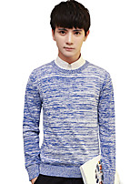 Men's Plus Size Going out Casual/Daily Vintage Simple Street chic Regular Pullover,Solid Print Color Block Round Neck Long Sleeves Cotton