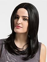 Women Synthetic Wig Capless Medium Natural Wave Black Middle Part Layered Haircut Natural Wigs Costume Wigss