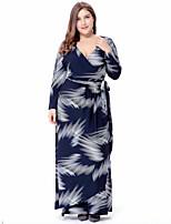 Для женщин На каждый день Большие размеры Уличный стиль А-силуэт Платье С принтом,V-образный вырез Макси Длинный рукав Полиэстер Весна