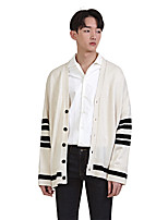 Men's Going out Casual/Daily Regular Cardigan,Solid V Neck Long Sleeves Cotton Polyester Others Spring Fall Medium Micro-elastic