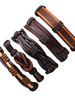 Men's Leather Bracelet Wrap Bracelet Fashion Multi-ways Wear Leather Line Irregular Jewelry For Going out Street
