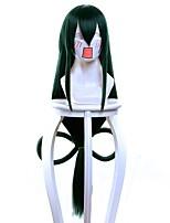 Mujer Pelucas sintéticas Sin Tapa Muy largo Liso Negro / verde oscuro Peluca de cosplay Pelucas para Disfraz