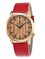 Муж. Жен. Модные часы Часы Дерево Японский Кварцевый деревянный Натуральная кожа Группа С подвесками Повседневная Красный