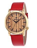 Herrn Damen Modeuhr Uhr Holz Japanisch Quartz hölzern Echtes Leder Band Bettelarmband Bequem Rot