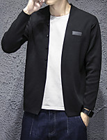 Men's Going out Casual/Daily Regular Cardigan,Solid V Neck Long Sleeves Cotton Acrylic Spring Fall Medium Micro-elastic