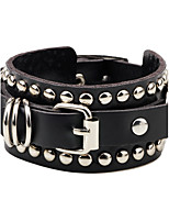 Men's Women's Leather Bracelet Adjustable Personalized Leather Circle Button Jewelry For Casual Going out