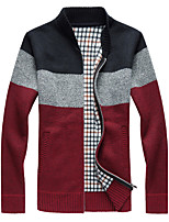 Men's Casual/Daily Simple Regular Cardigan,Print Stand Long Sleeves Cotton Spring Winter Medium Micro-elastic
