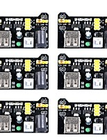 MB102 3.3V/5V Breadboard Power Supply Module for Arduino Board Solderless Breadboard (Pack of 6)