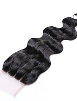 16 pulgadas grado 8a 4x4 encaje tapa de cierre 100% cabello humano brasileño 3 parte / parte media / parte libre # 1b natural cuerpo negro