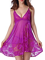 Women's Lace Lingerie Ultra Sexy Nightwear Patchwork-Translucent Polyester