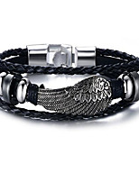 Men's Leather Bracelet Jewelry Geometric Alloy Wings / Feather Jewelry For Daily