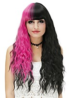 Women Synthetic Wig Capless Long Water Wave Black/Rose Red Halloween Wig Costume Wigs