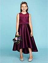 A-Line Princess Jewel Neck Asymmetrical Lace Satin Junior Bridesmaid Dress with Sash / Ribbon by LAN TING BRIDE®