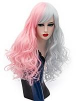 Femme Perruque Synthétique Sans bonnet Long Ondulation profonde Rose / Gris Perruque Halloween Perruque Déguisement