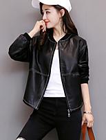 Для женщин На каждый день Осень Зима Кожаные куртки V-образный вырез,Простой Однотонный Короткая Длинный рукав,Полиуретановая