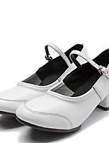 Для женщин Танцевальные кроссовки Наппа Leather Кроссовки С раздельной подошвой Для открытой площадки На низком каблуке Белый Черный