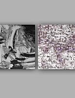 Ручная роспись Абстракция Деревенский стиль Современный Деловые 2 панели Холст Hang-роспись маслом For Украшение дома