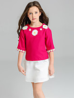 Girls' Solid Sets,Polyester Spring Fall Half Sleeve Clothing Set