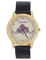 Муж. Жен. Модные часы Часы Дерево Наручные часы Уникальный творческий часы Китайский Кварцевый Кожа Группа Винтаж Heart Shape С