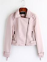 Для женщин На каждый день Зима Кожаные куртки Лацкан с острым углом,Винтаж Однотонный Короткая Длинный рукав,Полиуретановая
