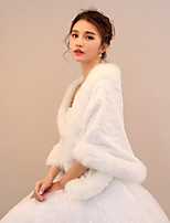 Women's Wrap Shawls Rabbit Fur Faux Fur Wedding Party/ Evening Pattern / Print