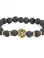 Men's Women's Charm Bracelet Strand Bracelet Onyx Fashion Vintage Bohemian Punk Personalized Alloy Circle Lion Jewelry For Party Daily