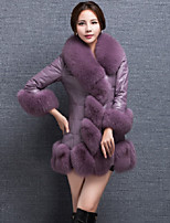 Women's Going out Casual/Daily Simple Chinoiserie Winter Fur Coat,Solid Round Neck Long Sleeve Long Faux Fur Fur Trim