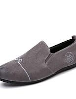 Hombre Zapatos de taco bajo y Slip-On Zapatos De Buceo Primavera Otoño Tela Casual Encaje Cosido Tacón Plano Negro Gris Amarillo Plano
