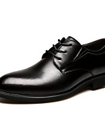 Men's Oxford Formal Shoe Comfort Spring Summer Fall Winter Cowhide Leather Casual Office & Career Lace-up Low Heel Brown Black Under 1in