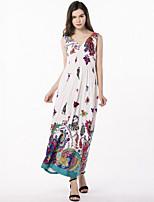Для женщин Большие размеры Богемный Уличный стиль С летящей юбкой Платье С принтом,V-образный вырез Макси Без рукавов Полиэстер Лето С