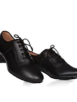 Men's Latin Real Leather Oxford Indoor Chunky Heel Black 1