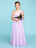 A-Line Princess One Shoulder Floor Length Chiffon Junior Bridesmaid Dress with Sash / Ribbon Side Draping by LAN TING BRIDE®