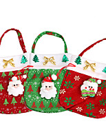3pc cute christmas sack gift xmas santa claus treat bags kids tote pouch candy cookies presente saco christmas ornaments supplies