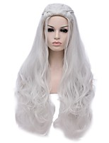 Women Synthetic Wig Capless Long Deep Wave Silver Halloween Wig Costume Wig