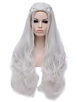 Mujer Pelucas sintéticas Sin Tapa Largo Produndo Plata Peluca de Halloween Pelucas para Disfraz