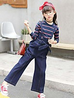 Girls' Stripe Solid Sets,Cotton Polyester Spring Fall Long Sleeve Clothing Set