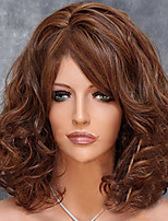Women Synthetic Wigs Capless Medium Wavy Flaxen Side Part African American Wig With Bangs Natural Wig Costume Wig
