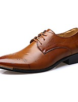 Men's Shoes Leatherette Fall Winter Comfort Oxfords Lace-up For Casual Office & Career Black Brown