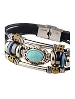 Men's Leather Bracelet Turquoise Vintage Personalized Leather Alloy Oval Tube Jewelry For Casual Stage