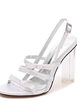 Feminino Sapatos De Casamento Plataforma Básica Tira no Tornozelo Shoe transparente Primavera Verão Cetim Casamento Social Festas & Noite