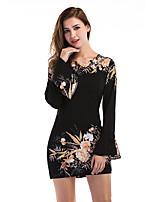 Для женщин Праздники На выход На каждый день Для клуба Уличный стиль Оболочка Платье Цветочный принт,Круглый вырез Мини Длинный рукав