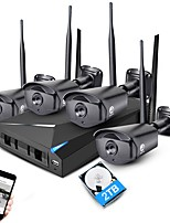 JOOAN® 4CH 1080P NVR Wireless CCTV System 4pcs 2MP IP Camera Wifi Waterproof Home Security Surveillance Kit with 2TB HDD