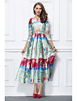 Princesse Bijoux Longueur Cheville Mikado Soirée Formel Robe avec Motif / Impression par YIYIAI