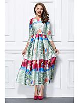 Princess Jewel Neck Ankle Length Mikado Formal Evening Dress with Pattern / Print by YIYIAI