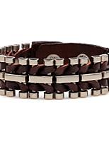 Homme Bracelets en cuir Personnalisé Pierre Cuir Alliage Forme Géométrique Bijoux Pour Scène Soirée