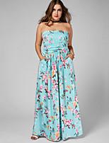 Для женщин Пляж Праздники На каждый день Большие размеры Винтаж Простое Свободный силуэт Платье Цветочный принт,Без бретелей Макси Без