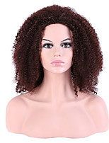 Women Synthetic Wig Capless Medium Kinky Curly Afro Brown For Black Women Layered Haircut Party Wig Halloween Wig Natural Wigs Costume