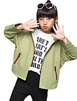 Girls' Floral Jacket & Coat,Polyester Fall All Seasons Long Sleeve