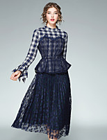 Women's Going out Casual/Daily Street chic Fall Blouse Skirt Suits,Plaid/Check Stand Long Sleeve Ruffle Mesh Inelastic